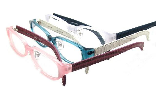 非球面 UVカットレンズ装備の激安通販メガネ Real leather 本革テンプルのメガネ